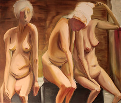 Bathing Women (vonSchnauzer) Tags: art flesh painting nude women stomach oil sauna