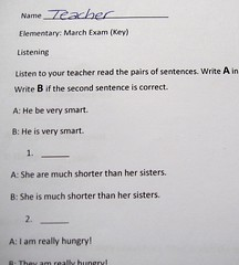 Teacher's Copy of Middle School Exam