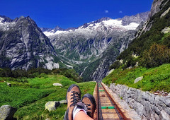 I travel not to go anywhere, but to go. I travel for travel's sake.... (ceca67) Tags: travel summer nature train landscape switzerland nikon flickr d90 ceca gelmerbahn heavensshots