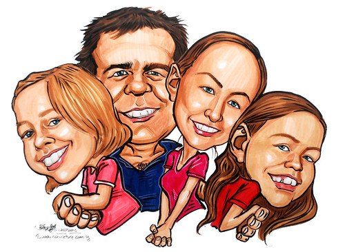 Caucasian family caricatures for Procter & Gamble (P&G)