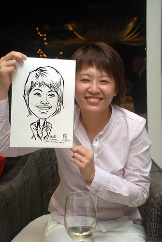 caricature live sketching for David & Christine wedding dinner - 12