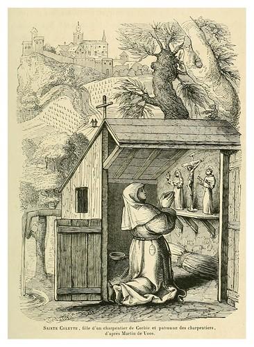 011-Santa Colette hija de un carpintero de Corbie y patrona del gremio-Le moyen äge et la renaissance…Vol III-1848- Paul Lacroix y Ferdinand Séré