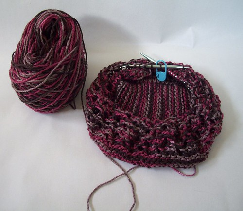Market Bag in Miniature in America's Best Cotton Cabled Raspberry Swirl