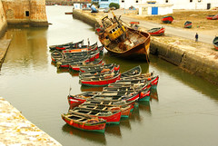 the harbour........ (atsjebosma) Tags: travel red haven green boats big harbour small boten morocco maroc oud kleurrijk eljadida atsjebosma