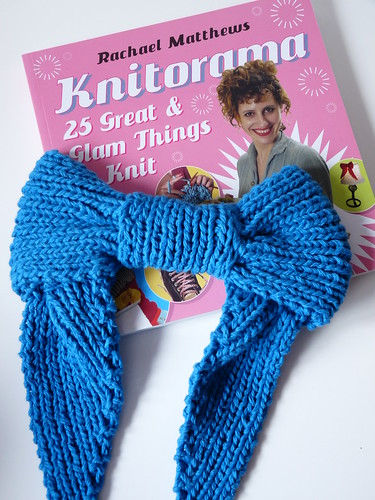 Knitted Blue Bow