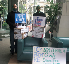 Stewards Army activists worked tirelessly on the Employee Free Choice Act campaign. In California members took boxes full of members' letters to Sen. Dianne Feinstein.