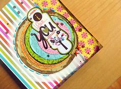 I Love You - Bella Blvd Card (Michelle Alynn) Tags: red summer orange yellow scrapbook paper fun paint bright handmade stripes card stitching splash loveyou walnutink embroiderythread patternedpaper