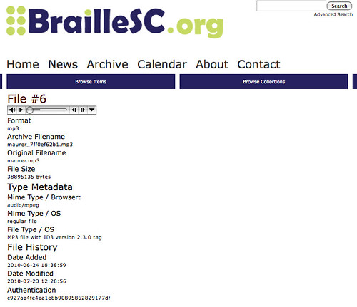 BrailleSC file page, audio