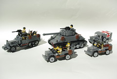 LEGO World War II vehicles (Dunechaser) Tags: usa army us tank lego jeep military ambulance worldwarii american armor ww2 dodge m3 apc mb m4 sherman willys halftrack allies allied wc54 medicalcorps m4a376w brickarms m4a3 foitsop m3a2