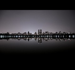 the upper west side (john fullard) Tags: nyc newyork reflection skyline night lights centralpark manhattan upperwestside jacquelinekennedyonassisreservoir