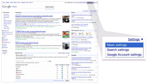 Google News Source Preferences