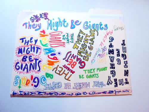 They Might Be Giants folder I drew in high school. Front view.