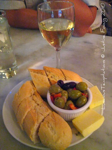 Bread, Butter, Olives and a Glass of White Wine - Randall and Aubin