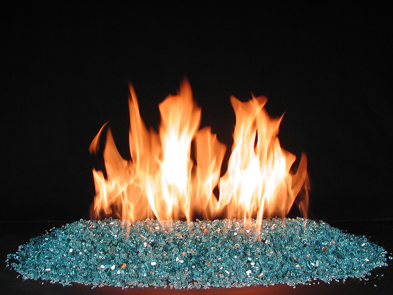 aqua glass fire ventless fireplace burner