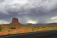 Storm in Monument Valley (wili_hybrid) Tags: road arizona storm black beautiful rain yellow clouds landscape utah unitedstates roadtrip roadside monumentvalley asphalt raining