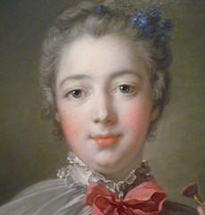 François Boucher, Madame de Pompadour (detail of face), oil on canvas, 1750