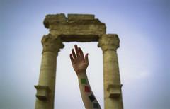 arm + ruins (scott w. h. young) Tags: sky film 35mm nikon ruins fuji arm syria palmyra