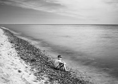 The Young Man and the Sea (c e d e r) Tags: ocean longexposure sea portrait blackandwhite bw seascape skåne europe foto sweden hemingway ceder nd110 flickriver cederfoto 10stopgreyfilter