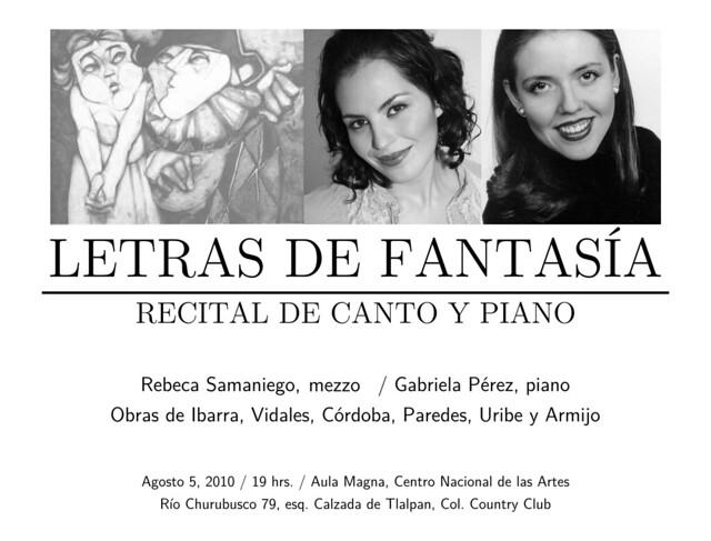 Rebeca Samaniego y Gabriela Pérez, canto y piano - Letras de Fantasía