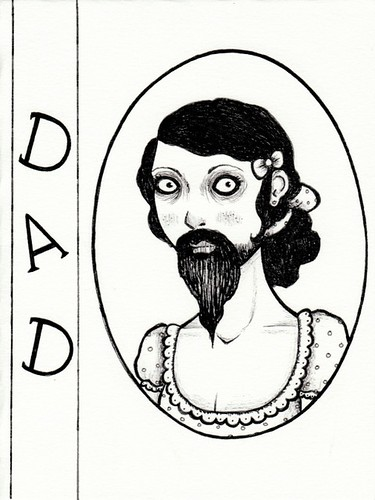 bearded lady birthday card for dad