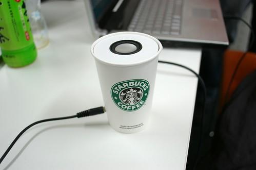 メガネのアラレちゃんが作ったスタバカップアンプ