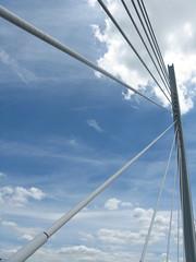 Millau Bridge (extract) (shaggy359) Tags: bridge blue sky cloud france freeassociation lines clouds wire motorway pillar line wires millau aveyron peage