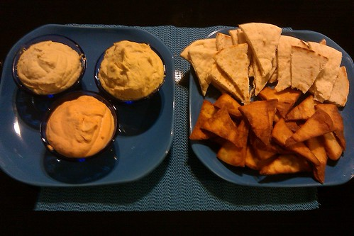 Garlic, artichoke and roasted red pepper hummus with pita wedges