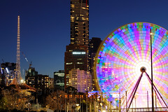 Melbourne Night Skyline (scott photos) Tags: city longexposure building wheel skyline night 50mm iso100 nikon dusk australia melbourne victoria f10 1755mmf28g nikkor watermark 1755mm 1755mmf28 d80 20secs byscottphotos