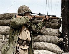 U.S. Marine sniper - Korean War 1950 (Za Rodinu) Tags: world 2 man men history vintage soldier war gun russia military rifle rifles front german weapon ww2 soldiers historical guns 1942 1945 rare troops 1944 1943