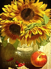 yellows and reds (OneEyedJax) Tags: flowers sunlight vegetables fruit wisconsin shadows peach masonjar sunflowers fleamarket kerr chilipeppers westallis greatfleamarket