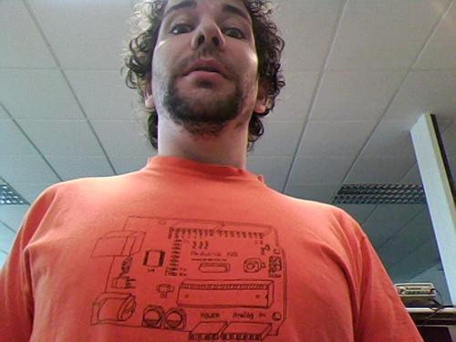 Diego wears the 2006 vintage Arduino t-shirt