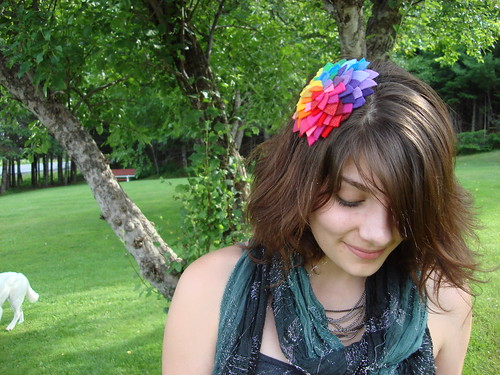 giant rainbow petals headband