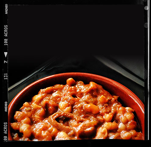 Calamari with Baked Beans