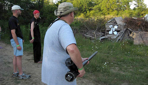 20100704 1751 - X-Day - Troll Shoot - Dave Lister, Jannus, Richard Skull with potato gun - (from SubGenius.com) - 1749-Skulls Big_Spud_Gun