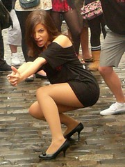 Edinburgh Fringe Festival: Nine (chairmanblueslovakia) Tags: street black cute college girl festival scotland high edinburgh dress little stage nine capital royal scottish fringe musical heels latino hispanic mile picnik petite 2010 braodway rbs eltham justjohn