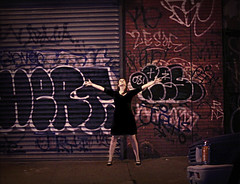 I'm Still Alive. (Faerie Girl) Tags: street urban brick me metal brooklyn night dark graffiti arms gritty sidewalk alive outstretched 365days 120365 pearljamstickman