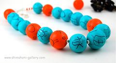 Orange on Blue Necklace