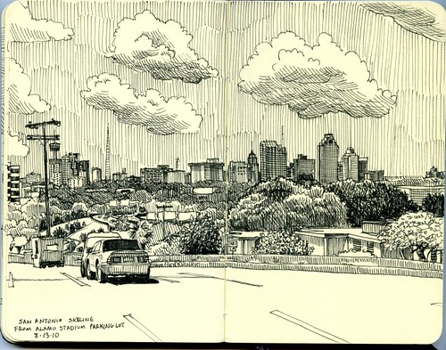 san antonio skyline from alamo stadium parking lot