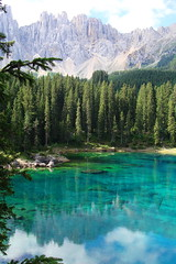 Sognando l'Alto Adige  -  South Tyrol dreaming (Cristina 63) Tags: trees italy lake mountains verde green nature water alberi montagne reflections lago grey europa europe italia grigio dream natura acqua riflessi monti altoadige southtyrol sogno mounts suedtirol lagodicarezza karersee welschnofen eggental valdega novalevante paololivornosfriends holidays2010 vacanze2010 virgiliocompany