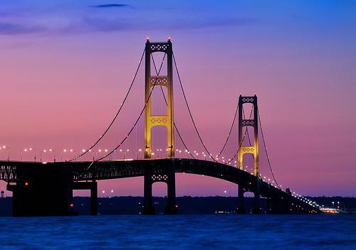 """""""Night Lights"""" Mackinac Bridge Mackinaw City Michigan."""