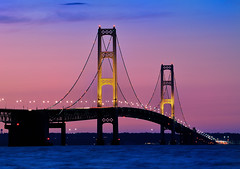"""Night Lights"" Mackinac Bridge Mackinaw City Michigan. (Michigan Nut) Tags: longexposure nightphotography sunset usa st yellow gold lights golden nikon nightlights purple michigan bridges lakemichigan coloredlights suspensionbridge recent lakehuron mackinacbridge ignace uppermichigan 1635mm oldmackinacpointlighthouse d700 fortmacinac lakemichiganlandscape straitsofmacinac"