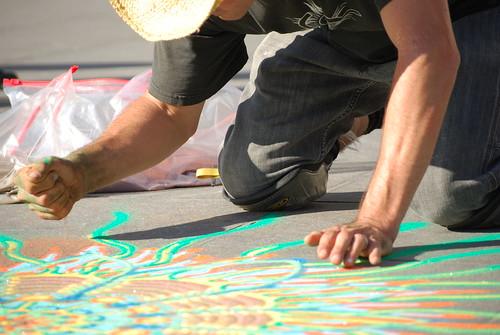 Sand Art by Joe Mangrum in Washington Square Park, New York