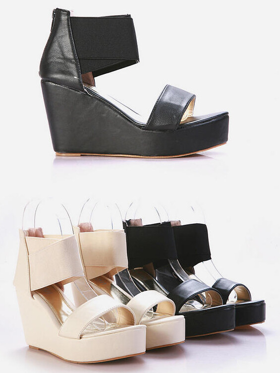kvoll studded wrap ankle denim wedges 1