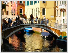 The beauty of Venice small bridges (jackfre2) Tags: bridge venice houses people italy reflections boats canal italia colours tourists balconies gondola venezia artofimages bestcapturesaoi elitegalleryaoi