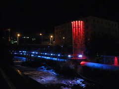 Abenaki Hydroelectric Central at night (Quevillon) Tags: blue red canada river lights qubec sherbrooke surgetank easterntownships penstock hydroelectricdam magogriver abenakihydroelectriccentral hydrosherbrooke