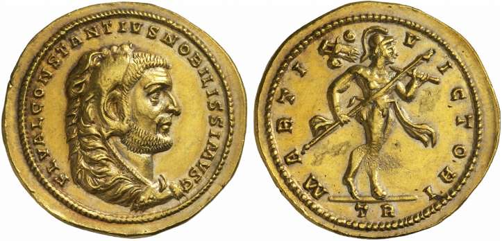 A Unique, Magnificent, and Important Roman Gold Medallion of 5 Aurei of Constantius I (293-306 C.E.), From the Famed Arras Hoard