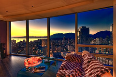Downtown Vancouver, Apartment View - Sunset (VVTECRACING) Tags: sunset sun set vancouver canon downtown bc view apartment britishcolumbia highrise mountans canon1dsmark3 hdraward flatdowntownvancouverapartmentviewsunset
