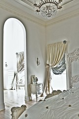 Romancing the Room (Elizabeth's Point of View) Tags: lighting windows english window vintage french bed silk fringe pillows chandelier curtains romantic trim drapes swag windowtreatment woodfloors bedding bolster paintedfurniture chairhallway