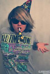 Hello Brooklyn (Jenn Carroll Photography) Tags: party music hat lyrics nikon colorful hand atl band tshirt partyhat blower partyblower alltimelow nikond60 lyricsproject jennyhero
