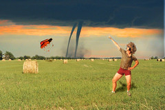 Disco J isn't in Kansas anymore. (Extra Medium) Tags: storm composite barn funny kansas twister tornado haybales discoj category5tornado